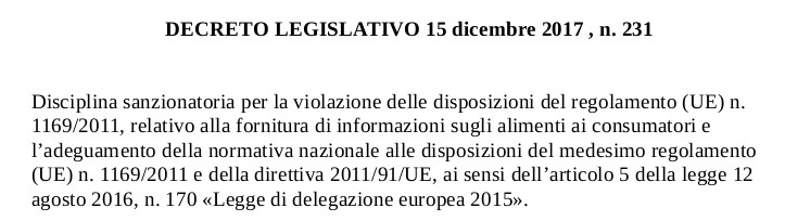 DECRETO LEGISLATIVO 15 dicembre 2017, n. 231
